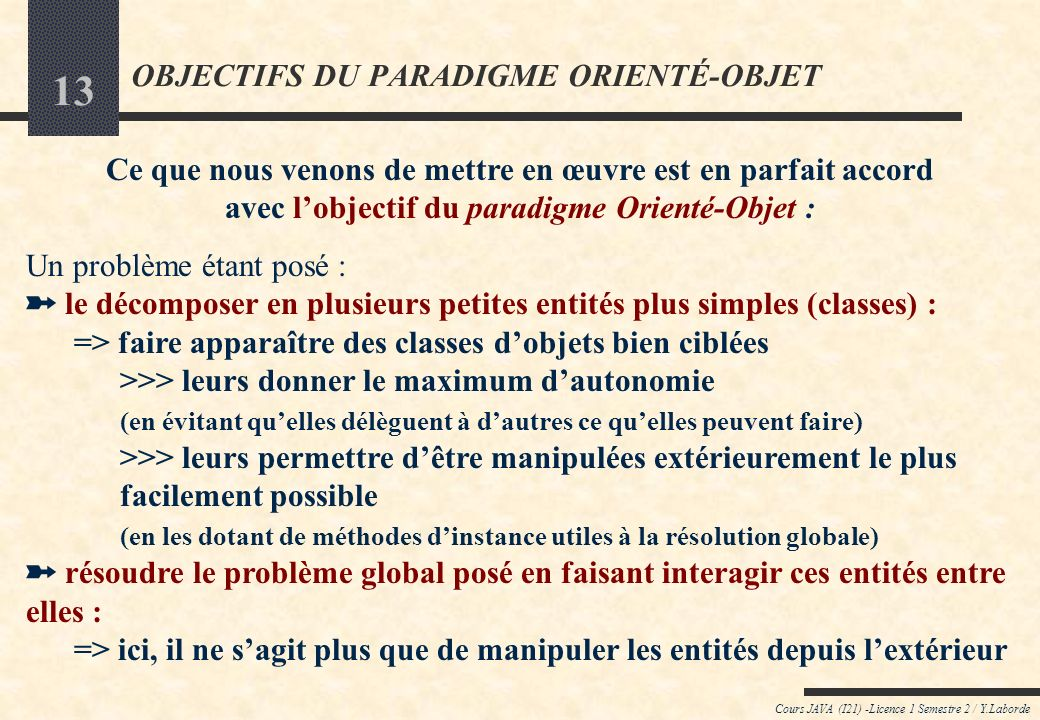 OBJECTIFS DU PARADIGME ORIENTÉ-OBJET