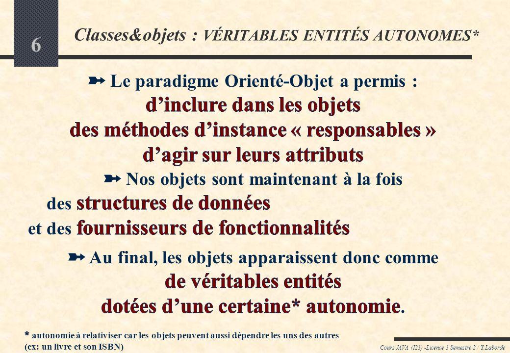 Classes&objets : VÉRITABLES ENTITÉS AUTONOMES*