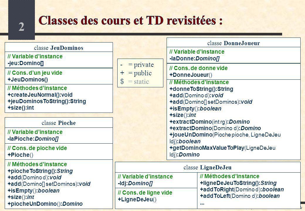 Classes des cours et TD revisitées :
