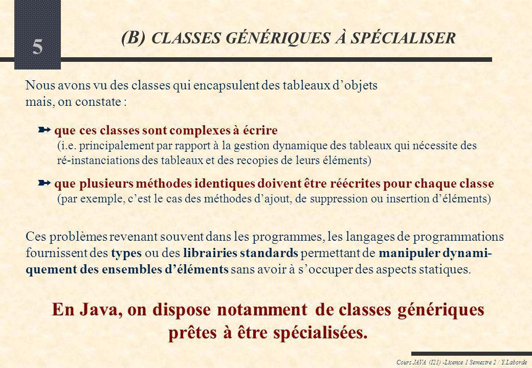 (B) CLASSES GÉNÉRIQUES À SPÉCIALISER