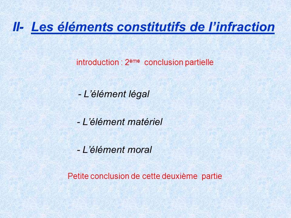 II- Les éléments constitutifs de l'infraction