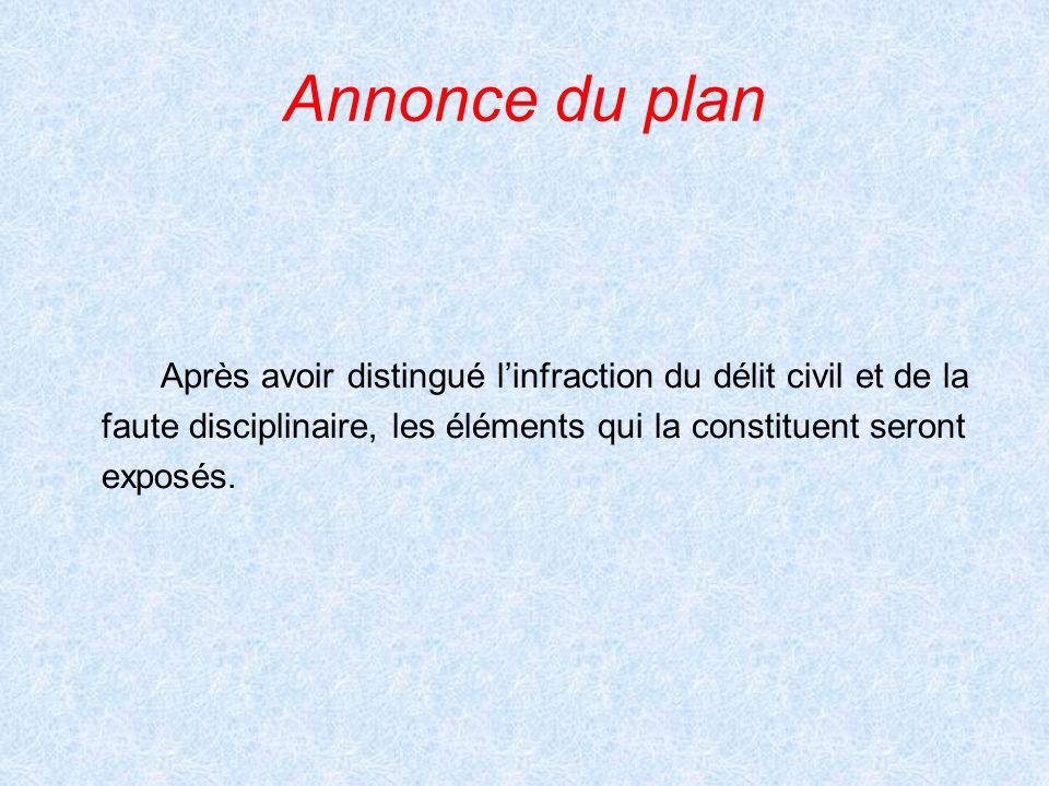 Annonce du plan Après avoir distingué l'infraction du délit civil et de la. faute disciplinaire, les éléments qui la constituent seront.