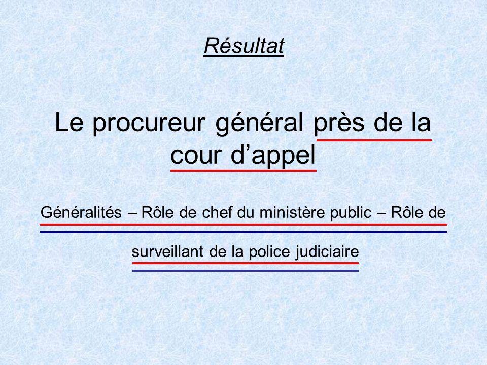 Résultat Le procureur général près de la cour d'appel Généralités – Rôle de chef du ministère public – Rôle de surveillant de la police judiciaire.