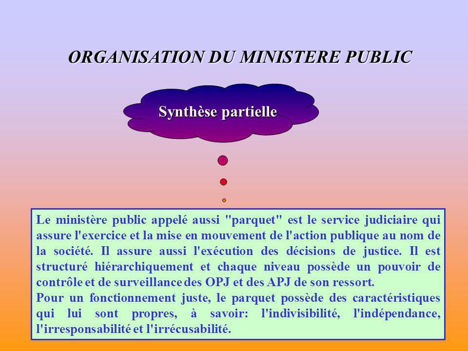 ORGANISATION DU MINISTERE PUBLIC