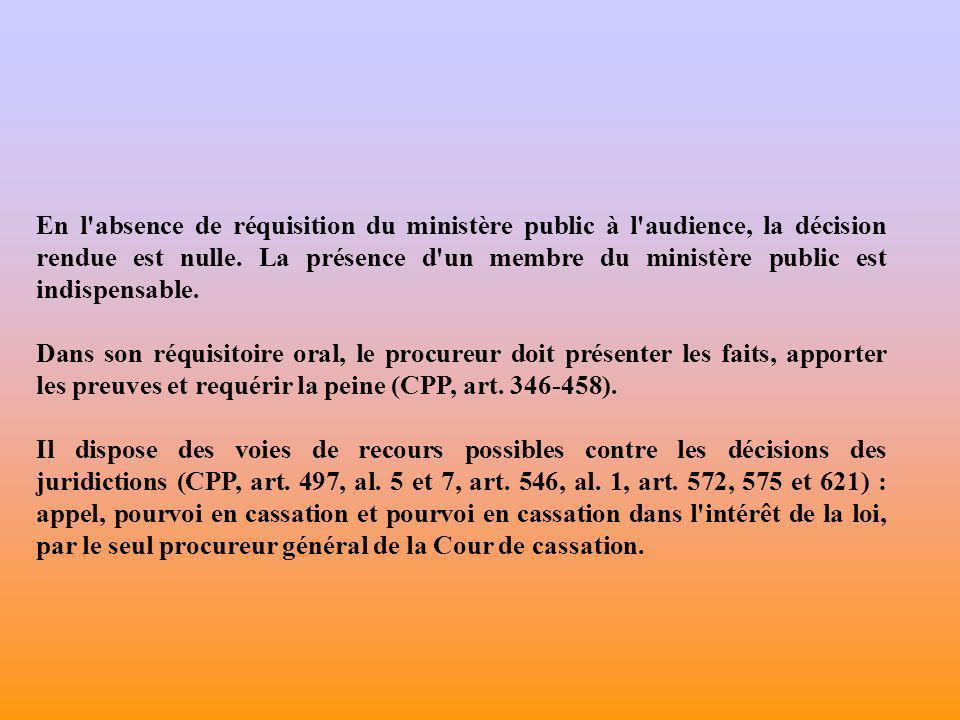 En l absence de réquisition du ministère public à l audience, la décision rendue est nulle. La présence d un membre du ministère public est indispensable.