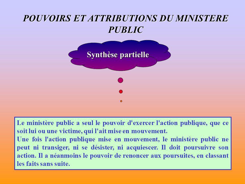 POUVOIRS ET ATTRIBUTIONS DU MINISTERE PUBLIC