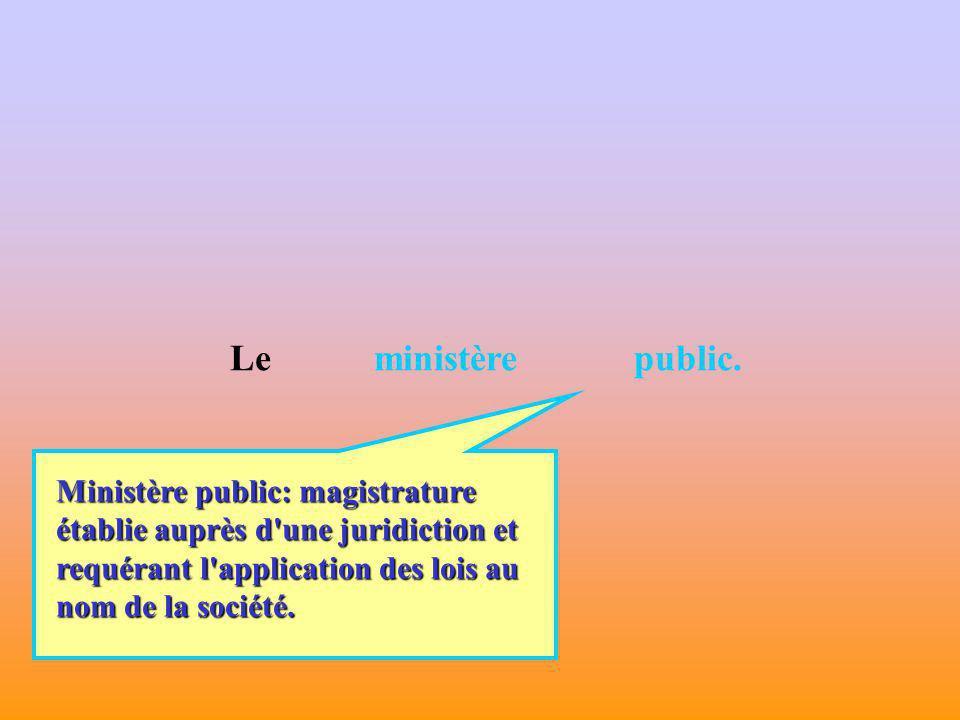 Le ministère public. Ministère public: magistrature établie auprès d une juridiction et.