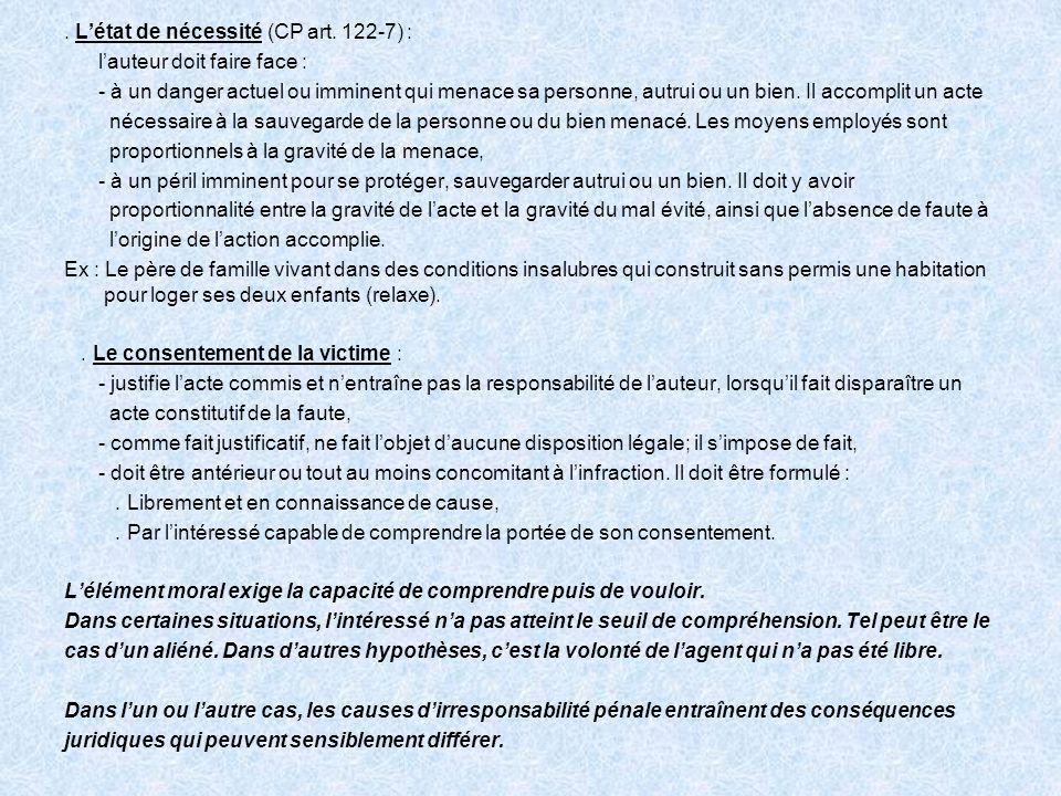 . L'état de nécessité (CP art. 122-7) :
