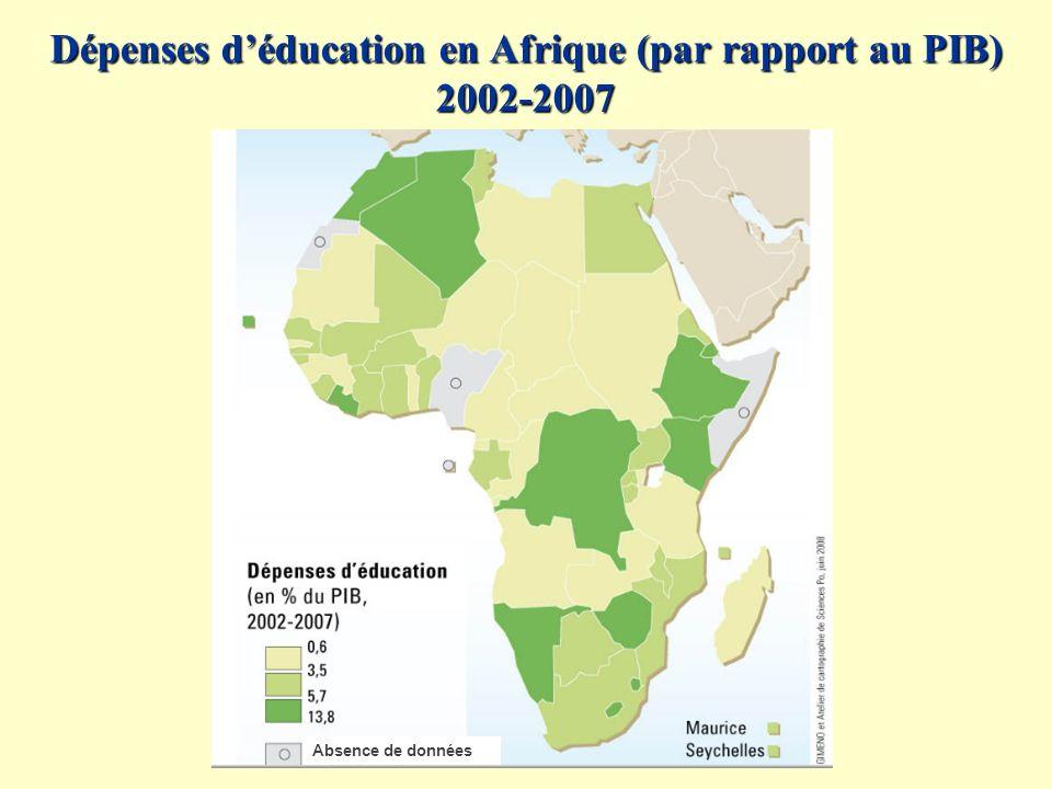 Dépenses d'éducation en Afrique (par rapport au PIB) 2002-2007