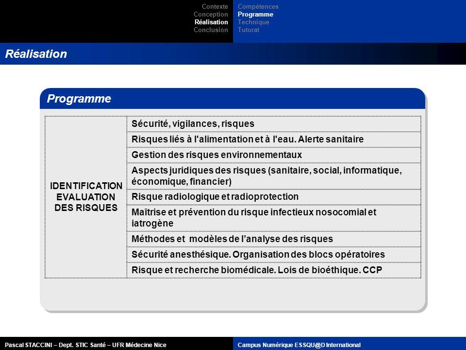 Réalisation Programme IDENTIFICATION EVALUATION DES RISQUES