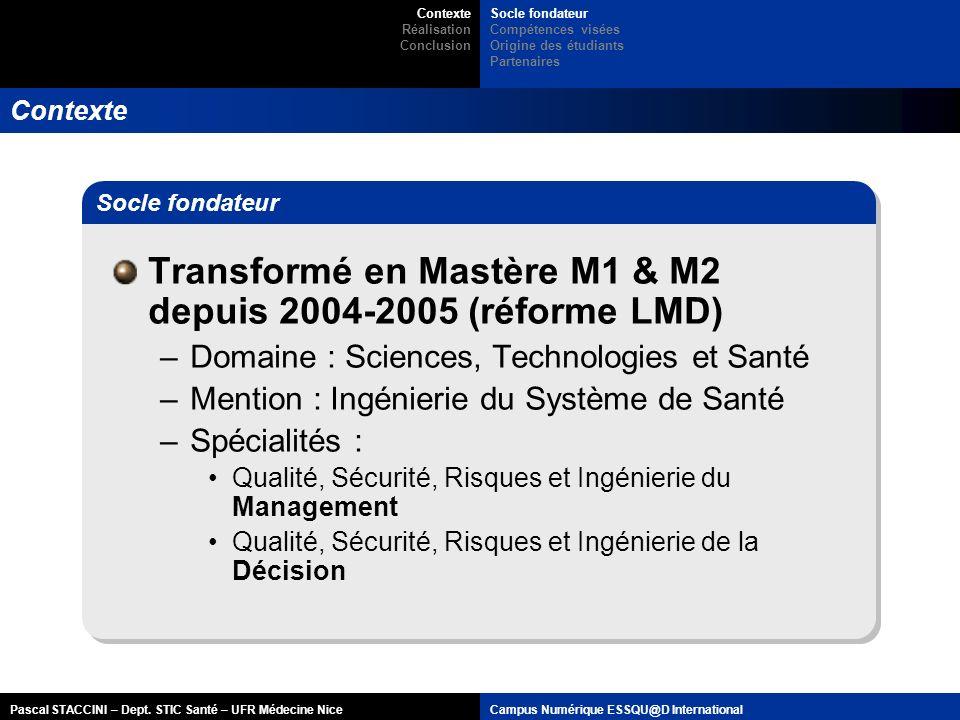 Transformé en Mastère M1 & M2 depuis 2004-2005 (réforme LMD)