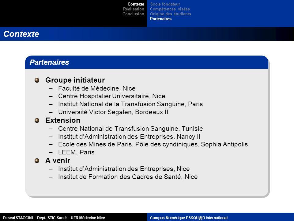 Contexte Partenaires Groupe initiateur Extension A venir