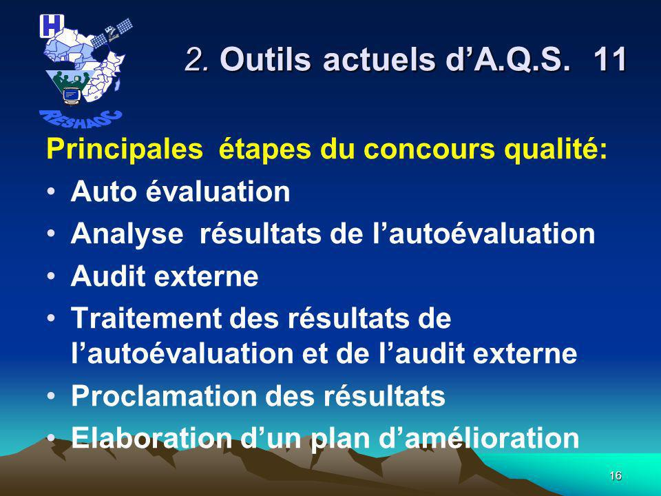 2. Outils actuels d'A.Q.S. 11 RESHAOC