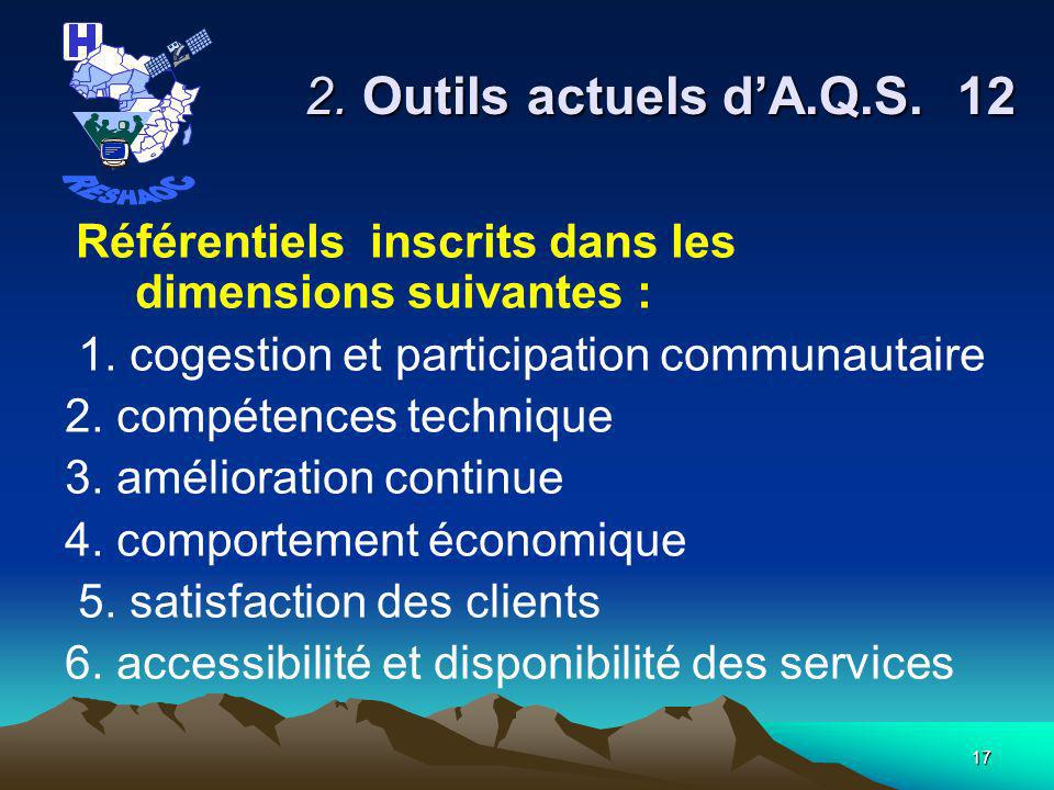 2. Outils actuels d'A.Q.S. 12 RESHAOC
