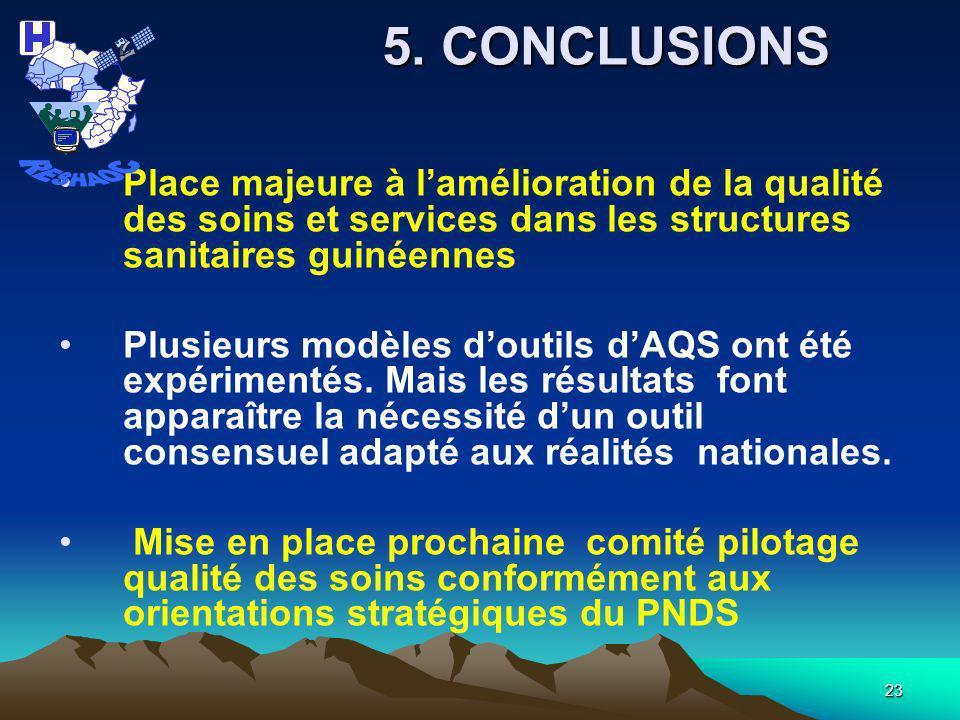 RESHAOC 5. CONCLUSIONS. Place majeure à l'amélioration de la qualité des soins et services dans les structures sanitaires guinéennes.