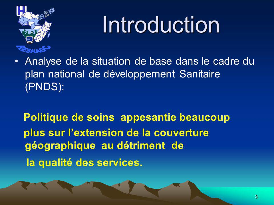 RESHAOC Introduction. Analyse de la situation de base dans le cadre du plan national de développement Sanitaire (PNDS):