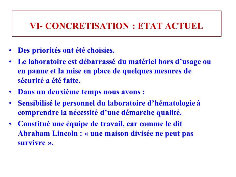 VI- CONCRETISATION : ETAT ACTUEL