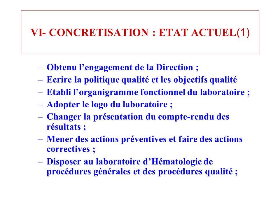 VI- CONCRETISATION : ETAT ACTUEL(1)