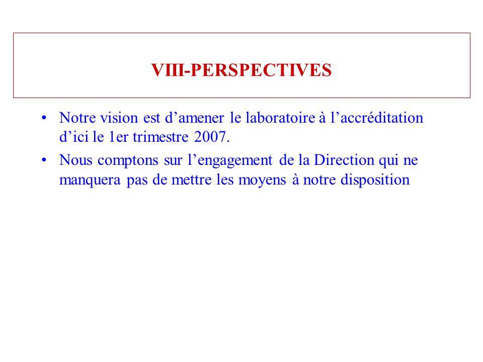VIII-PERSPECTIVES Notre vision est d'amener le laboratoire à l'accréditation d'ici le 1er trimestre 2007.