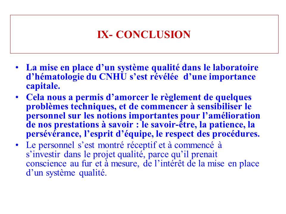 IX- CONCLUSION La mise en place d'un système qualité dans le laboratoire d'hématologie du CNHU s'est révélée d'une importance capitale.