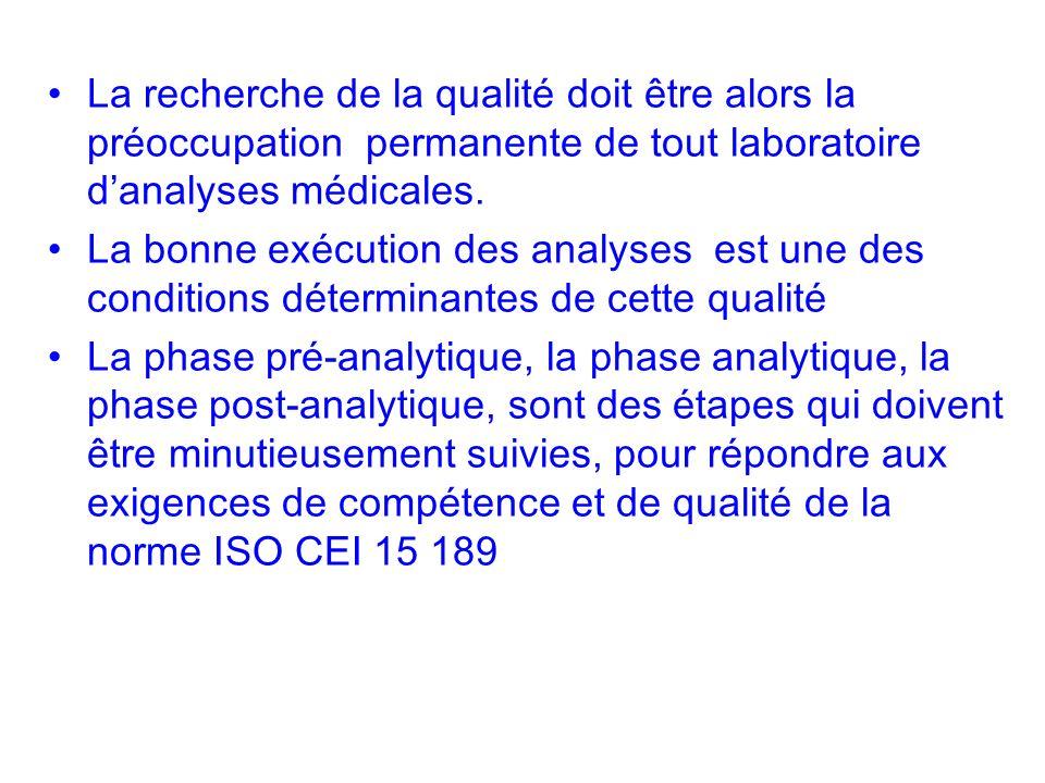 La recherche de la qualité doit être alors la préoccupation permanente de tout laboratoire d'analyses médicales.
