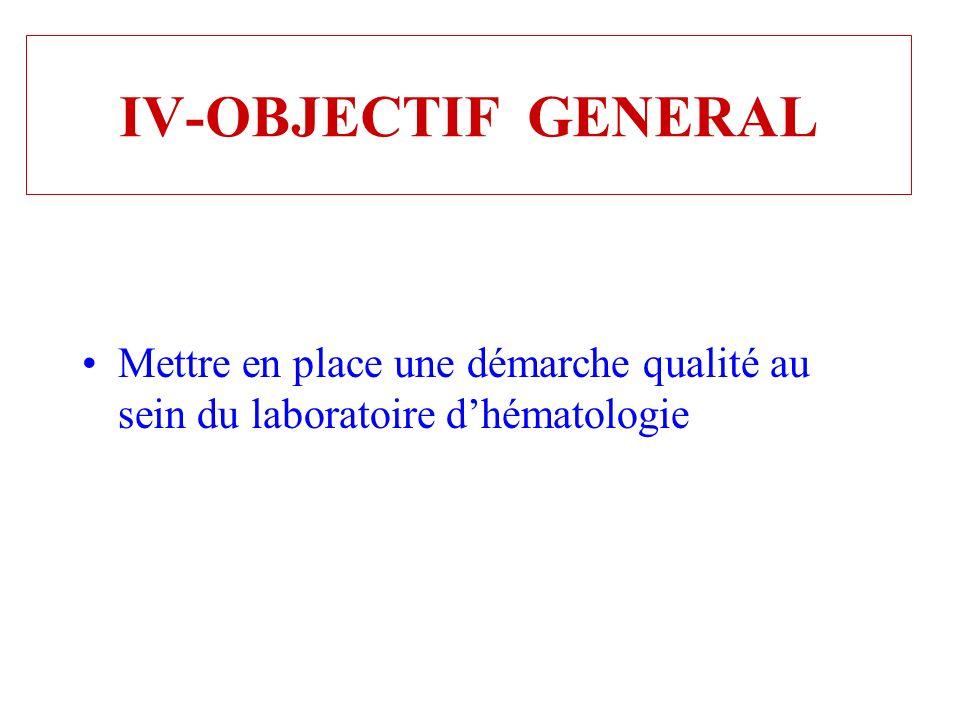 IV-OBJECTIF GENERAL Mettre en place une démarche qualité au sein du laboratoire d'hématologie