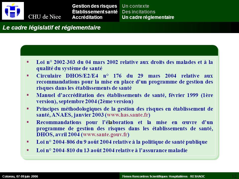 Le cadre législatif et réglementaire