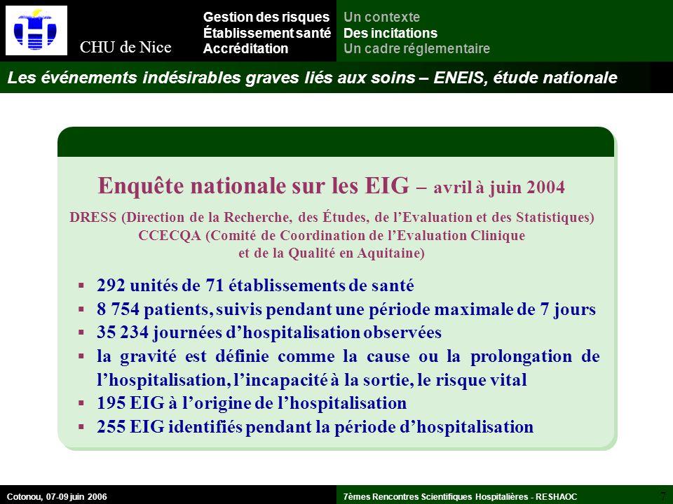 Enquête nationale sur les EIG – avril à juin 2004