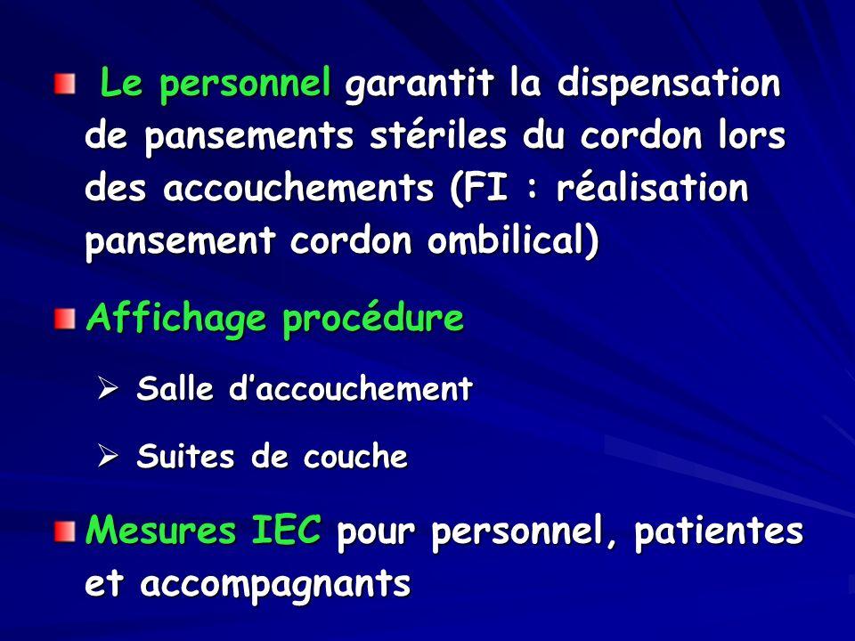 Mesures IEC pour personnel, patientes et accompagnants