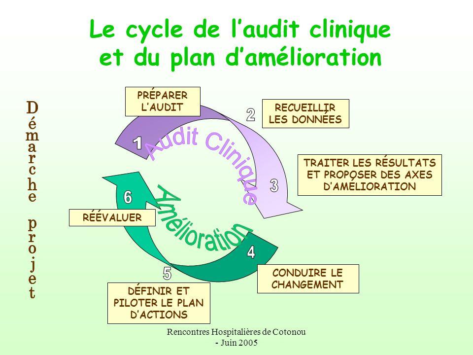 Le cycle de l'audit clinique et du plan d'amélioration