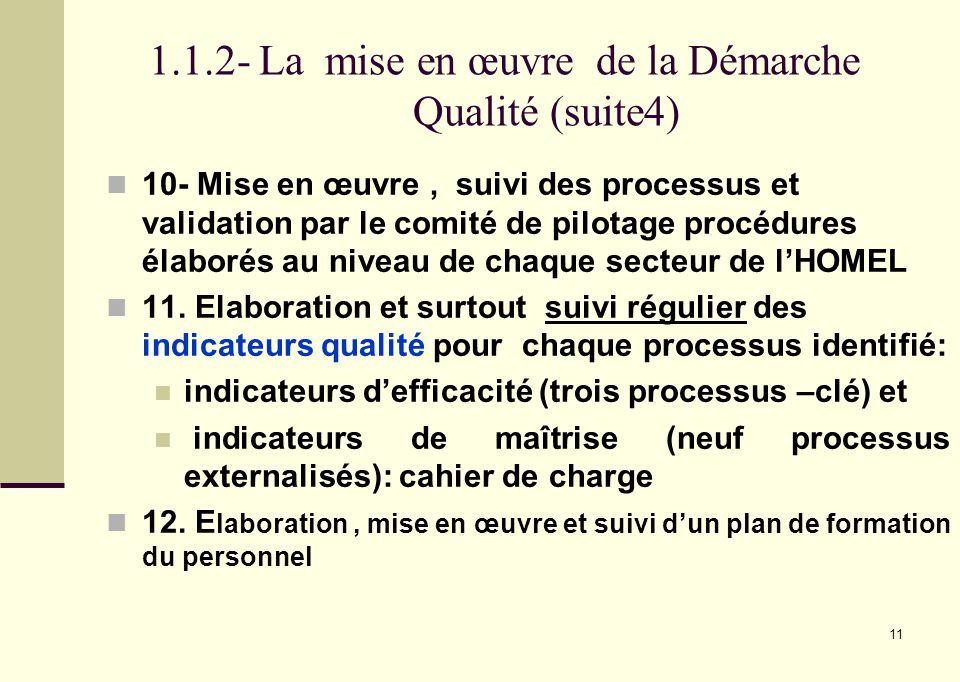 1.1.2- La mise en œuvre de la Démarche Qualité (suite4)