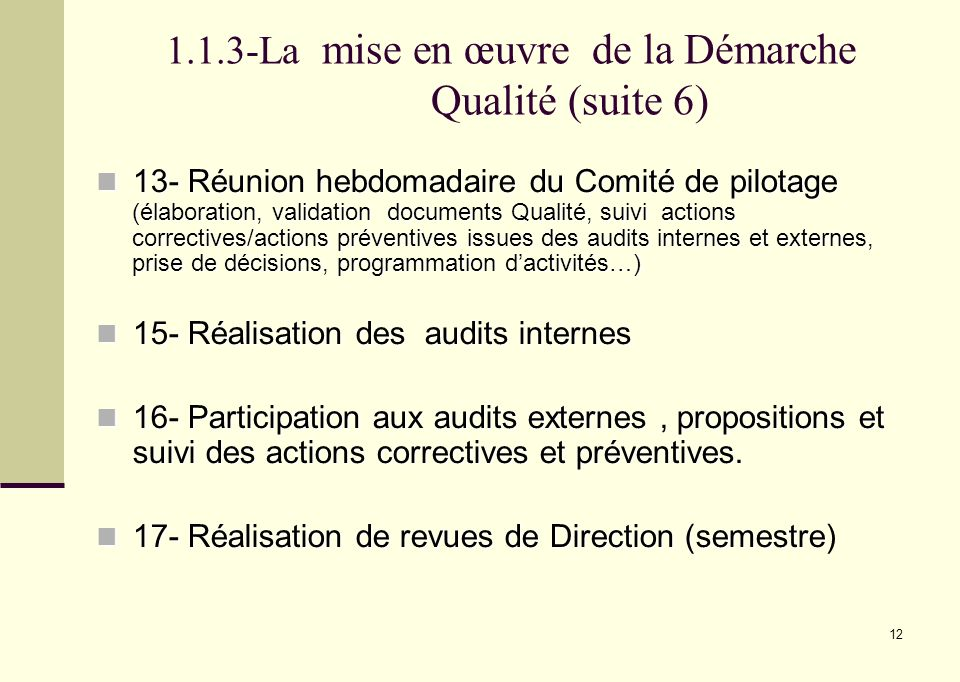 1.1.3-La mise en œuvre de la Démarche Qualité (suite 6)