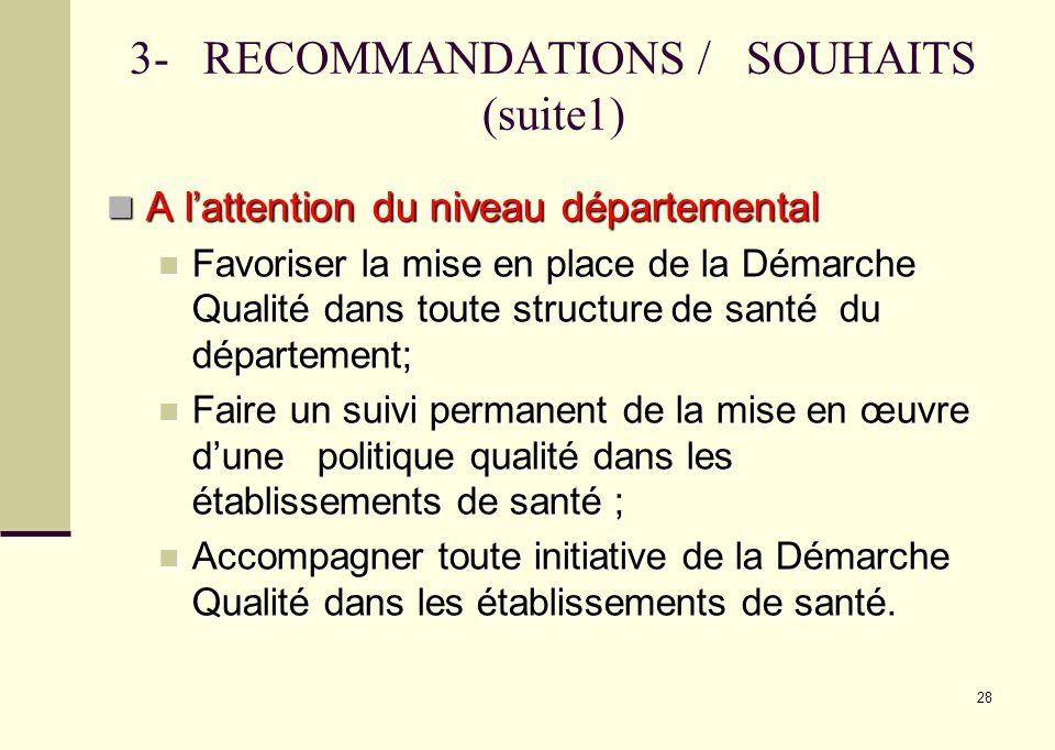 3- RECOMMANDATIONS / SOUHAITS (suite1)