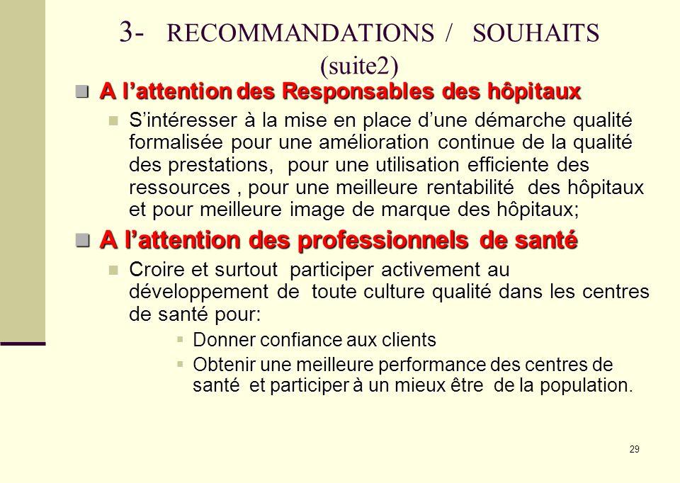 3- RECOMMANDATIONS / SOUHAITS (suite2)