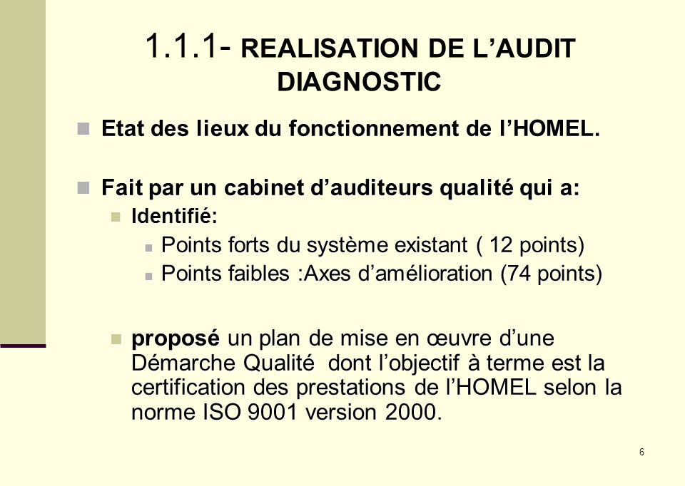 1.1.1- REALISATION DE L'AUDIT DIAGNOSTIC
