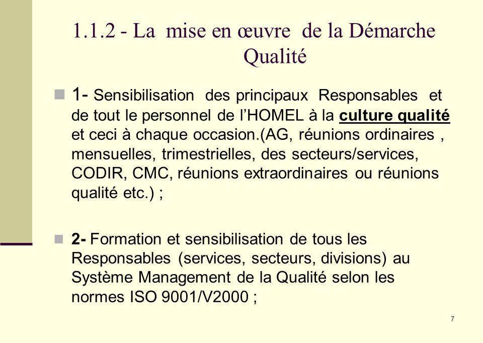 1.1.2 - La mise en œuvre de la Démarche Qualité