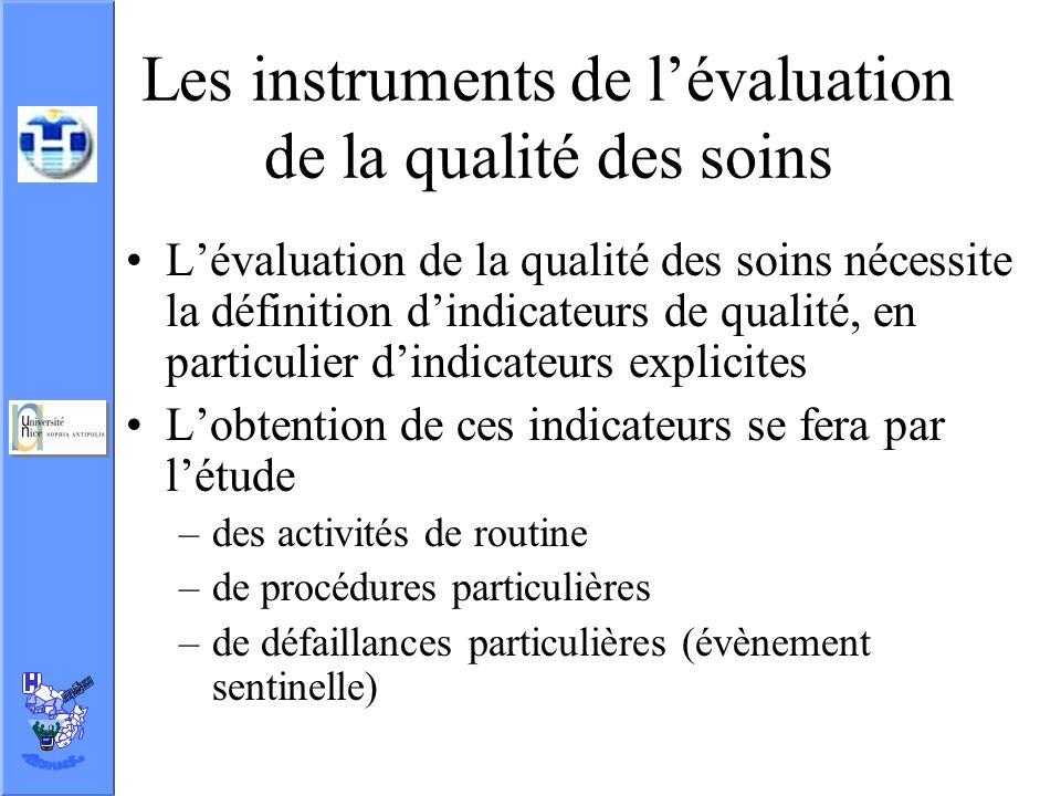 Les instruments de l'évaluation de la qualité des soins