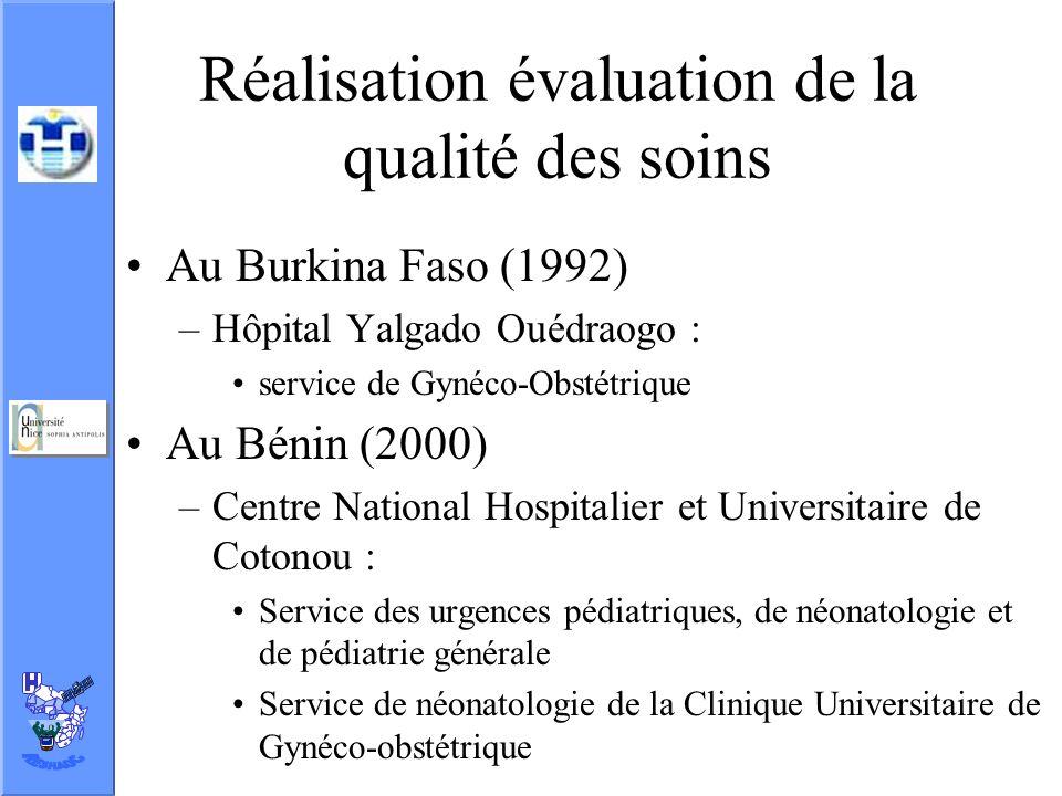 Réalisation évaluation de la qualité des soins