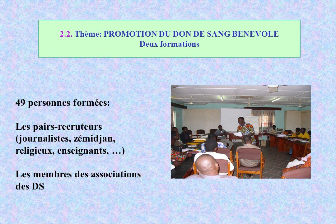 2.2. Thème: PROMOTION DU DON DE SANG BENEVOLE Deux formations
