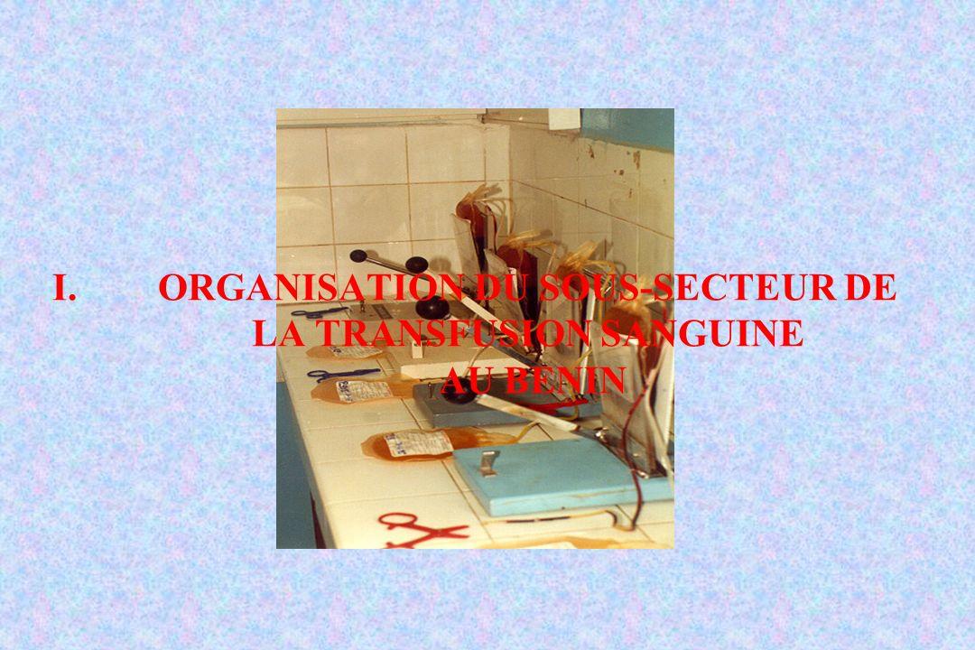ORGANISATION DU SOUS-SECTEUR DE LA TRANSFUSION SANGUINE AU BENIN