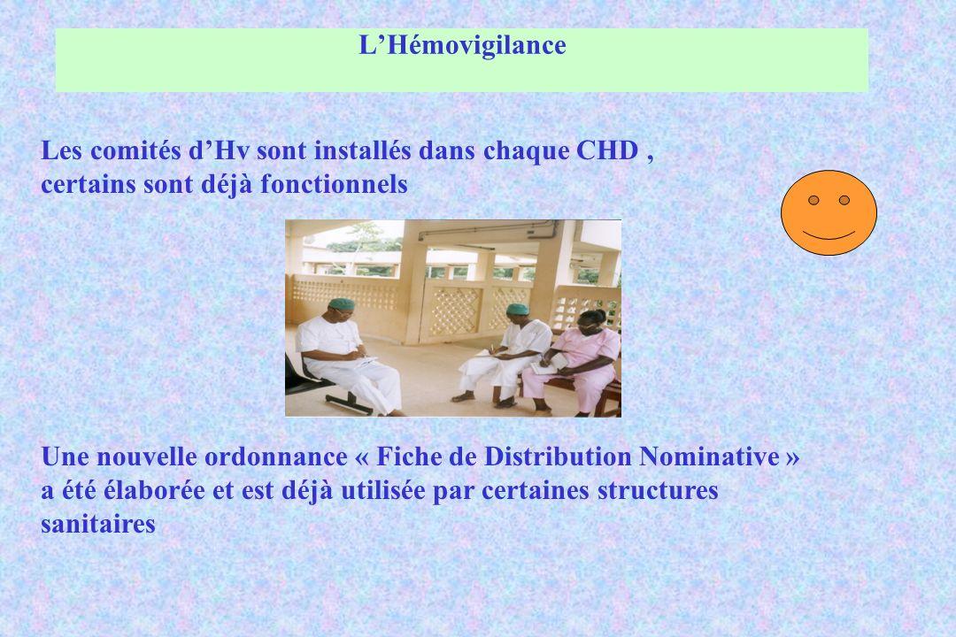 L'Hémovigilance Les comités d'Hv sont installés dans chaque CHD , certains sont déjà fonctionnels.