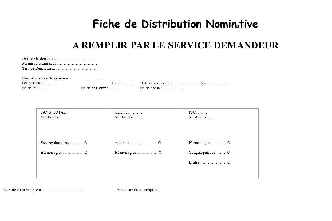 Fiche de Distribution Nominative A REMPLIR PAR LE SERVICE DEMANDEUR
