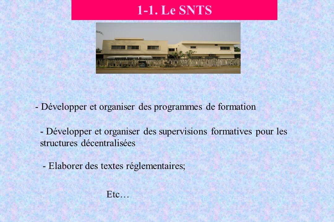 1-1. Le SNTS Développer et organiser des programmes de formation