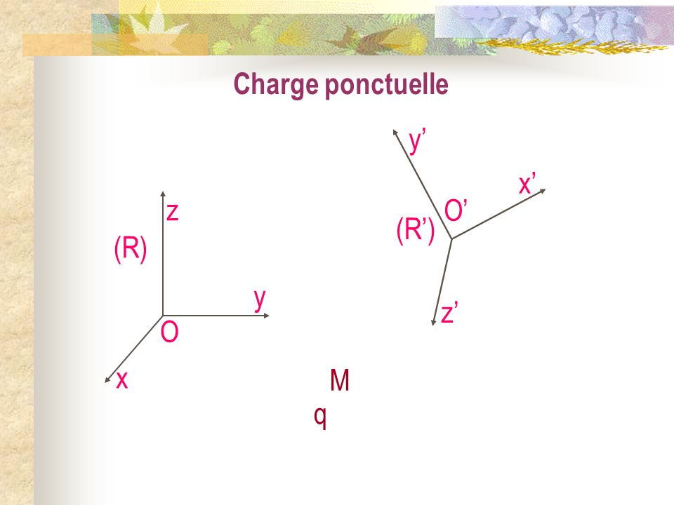 Charge ponctuelle O' x' y' z' (R') O x y z (R) M q