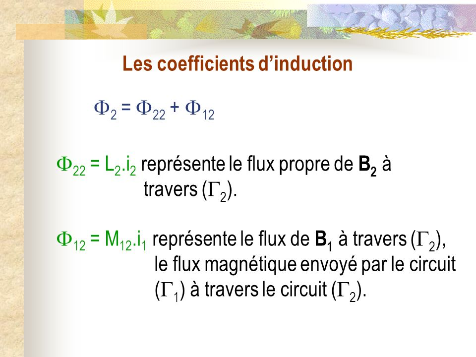 Les coefficients d'induction