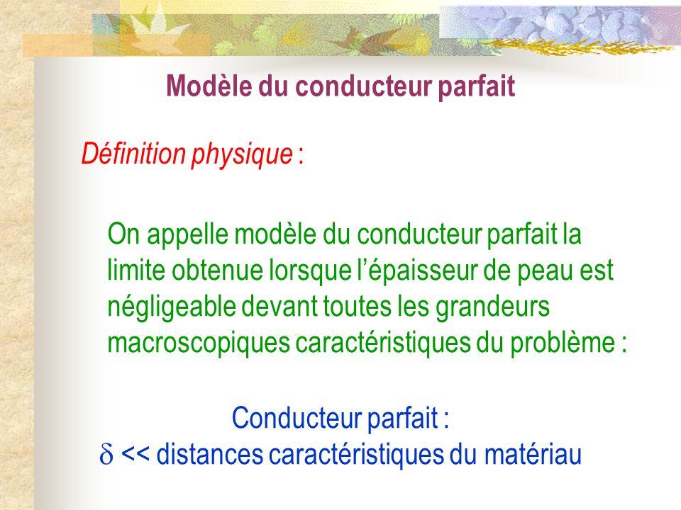 Conducteur parfait :  << distances caractéristiques du matériau
