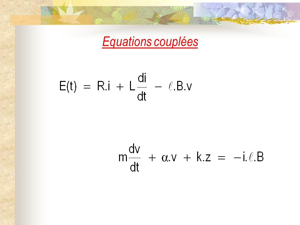 Equations couplées