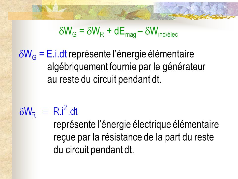 WG = WR + dEmag – Wind/élec