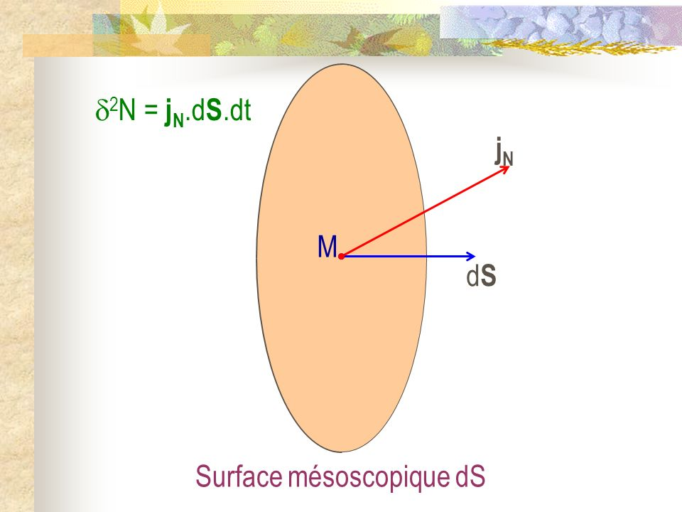 2N = jN.dS.dt jN dS M Surface mésoscopique dS