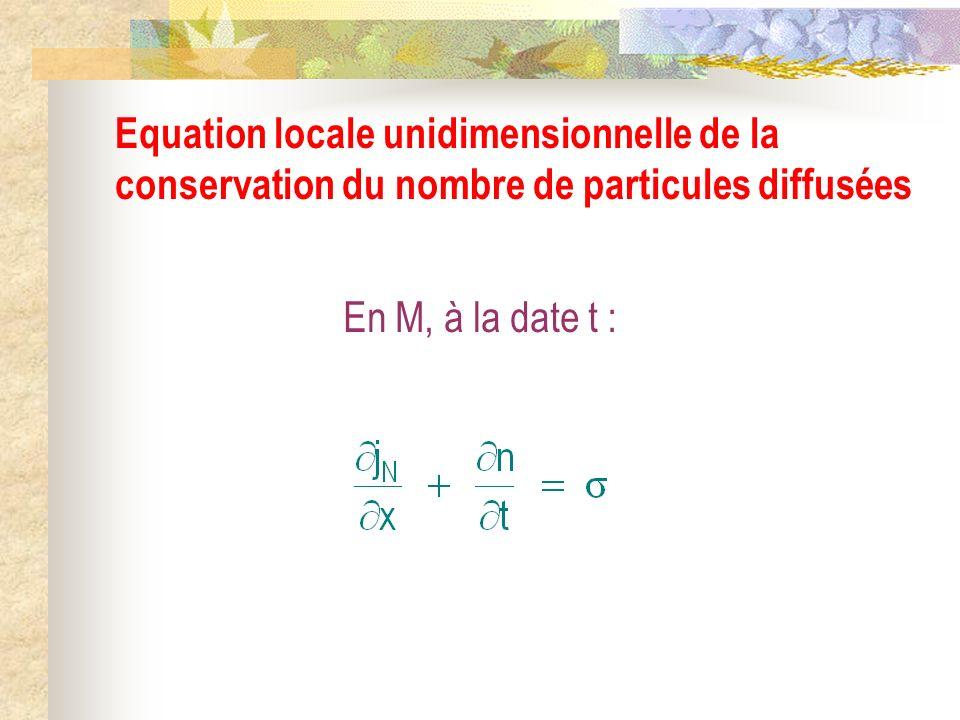 Equation locale unidimensionnelle de la conservation du nombre de particules diffusées
